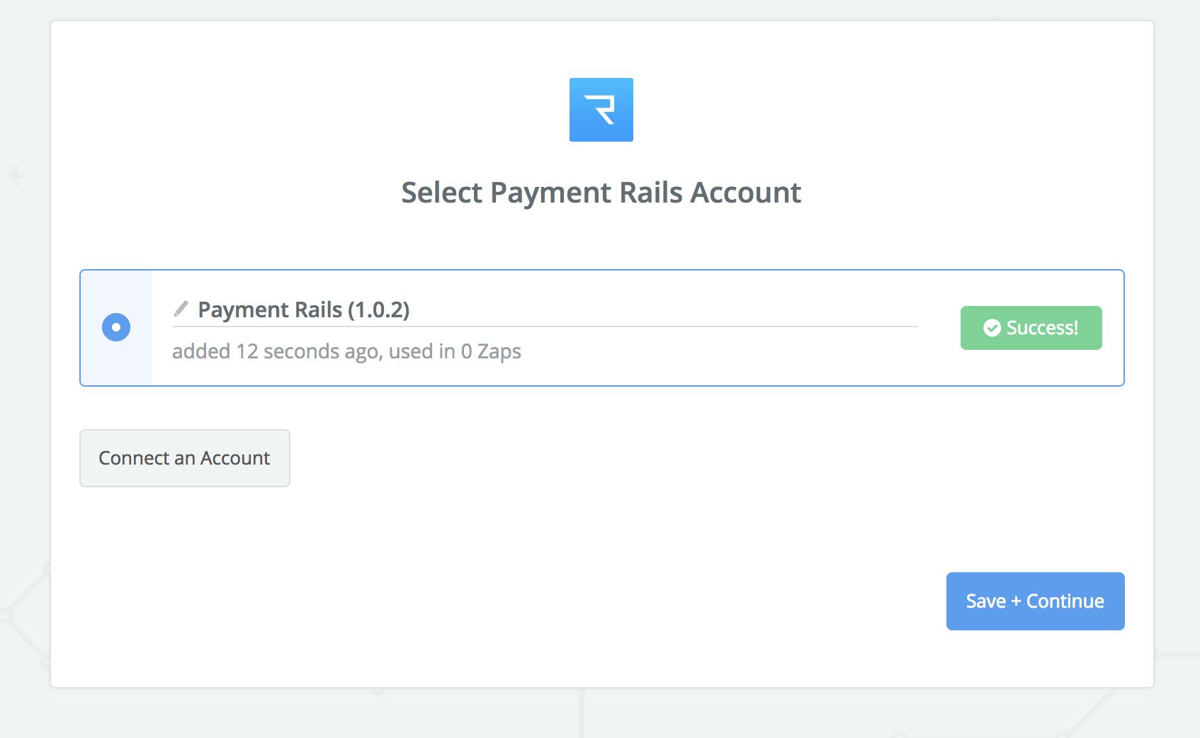 Payment Rails connection successful
