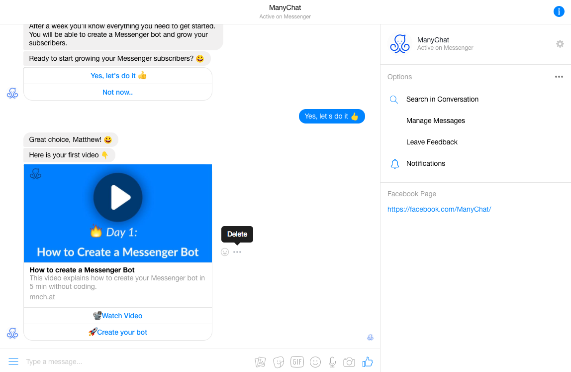 ManyChat screenshot