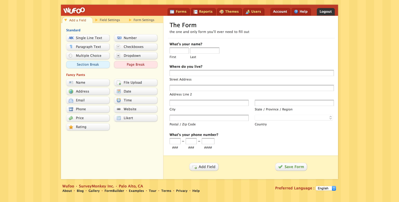 Wufoo screenshot
