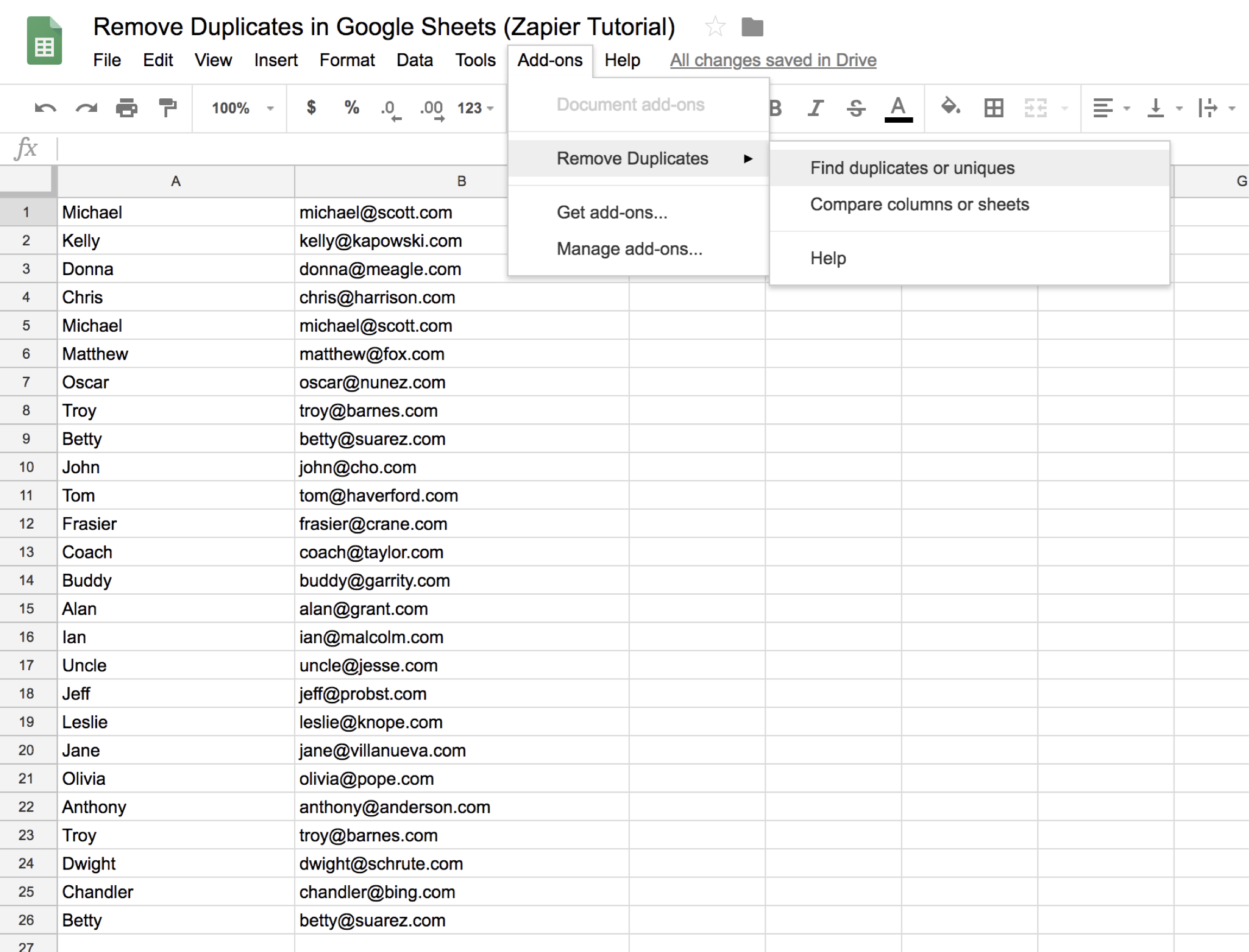 how to remove duplicates in google sheets