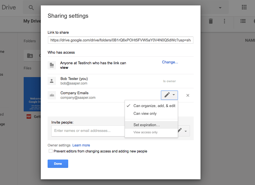 Custom G Suite Google Drive sharing settings