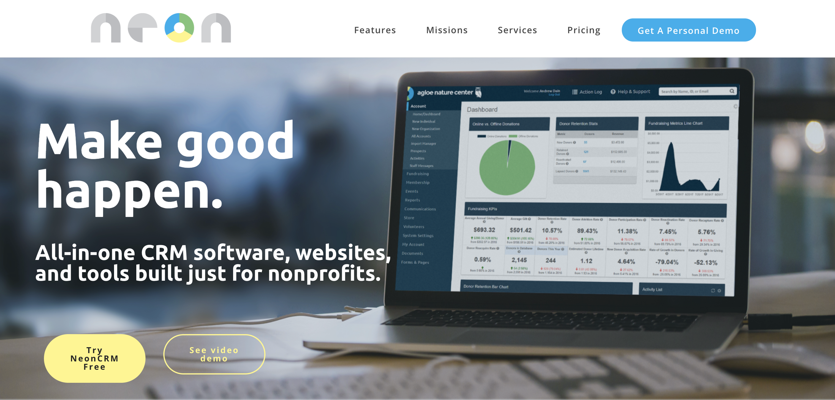 NeonCRM home page