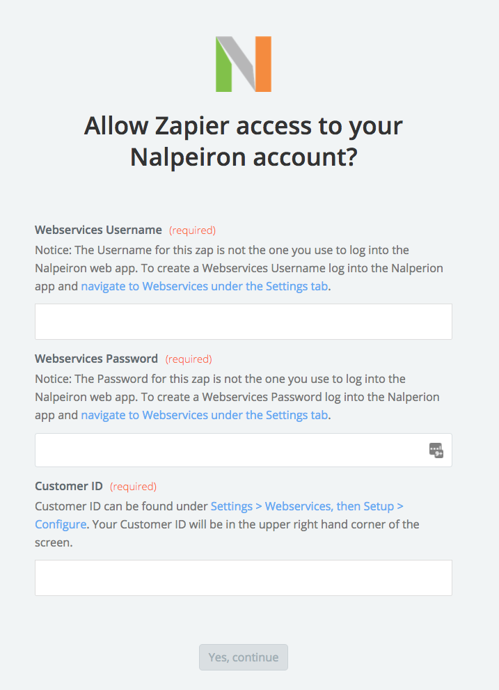 Nalpeiron username and password