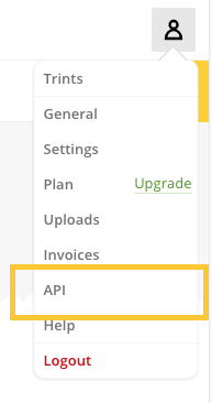 Trint API Key in account