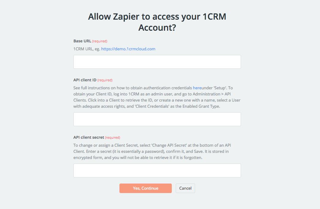 1CRM API Key