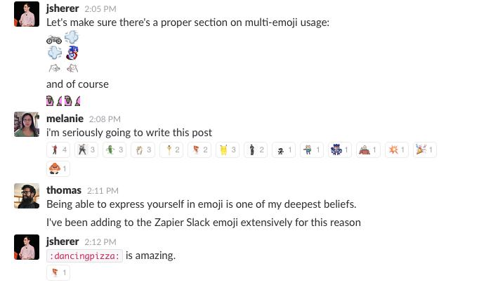 emoji discussion in Slack