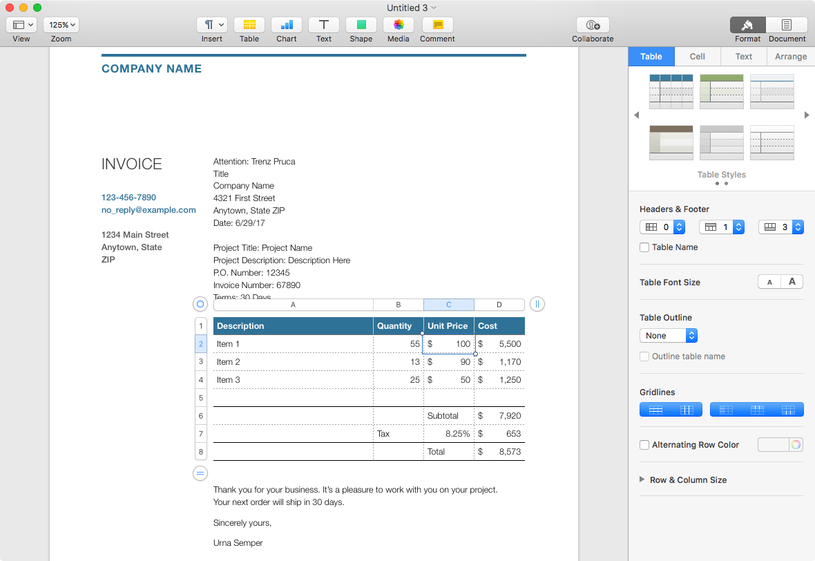 Invoice in Apple Pages