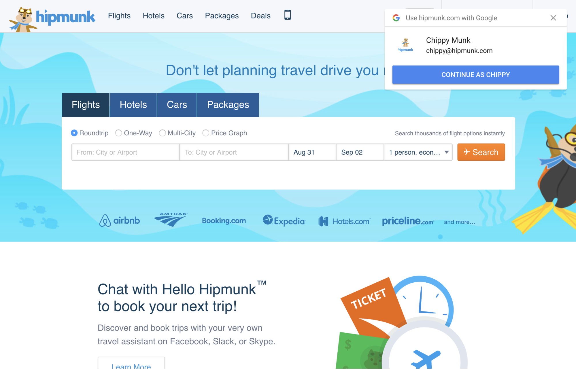 Hipmunk using Google One-tap