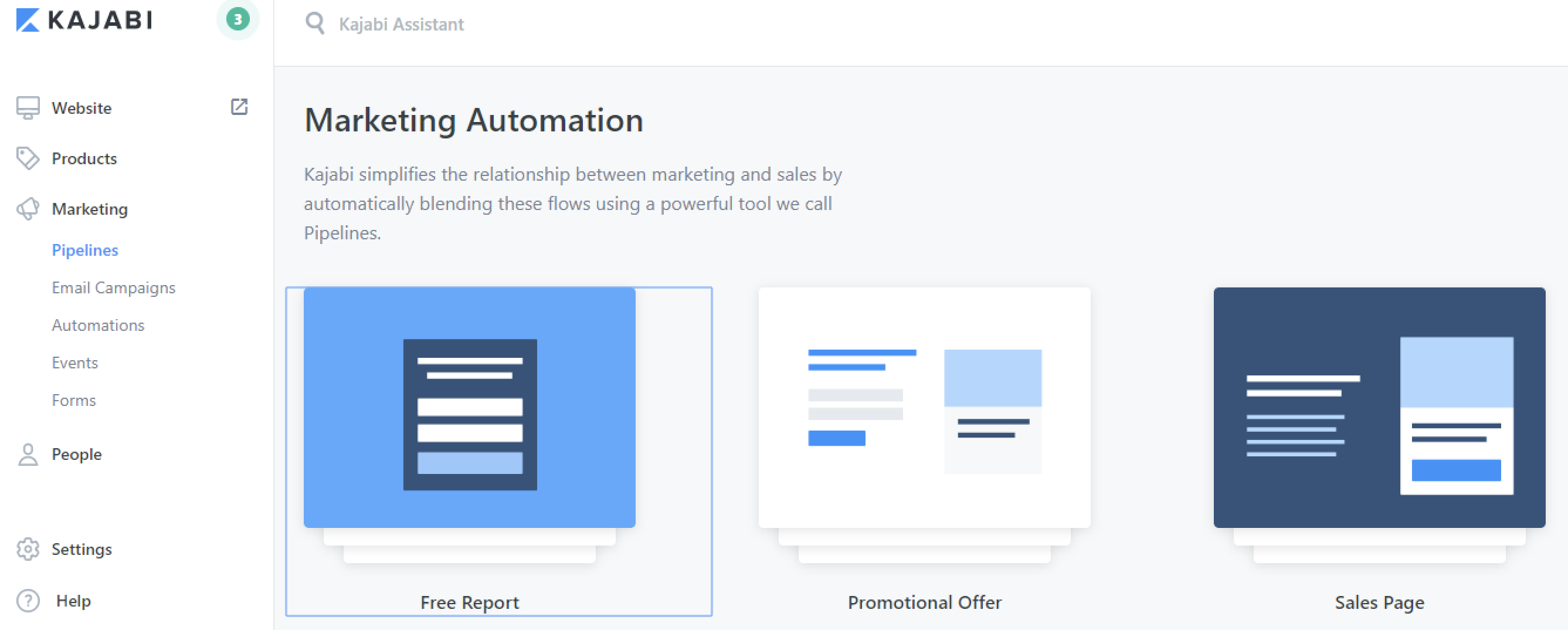 Kajabi marketing automation page