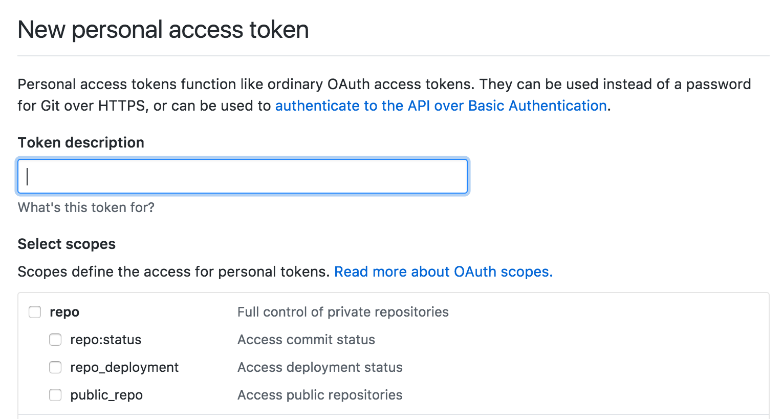 GitHub create token