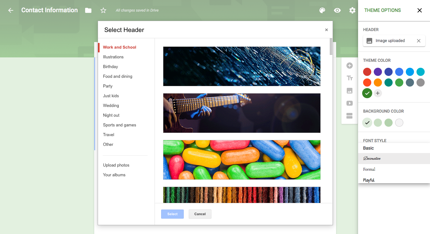 new for google forms customize your form design with theme options