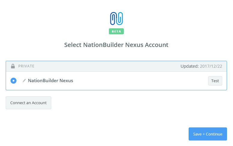 NationBuilder Nexus connection successfull