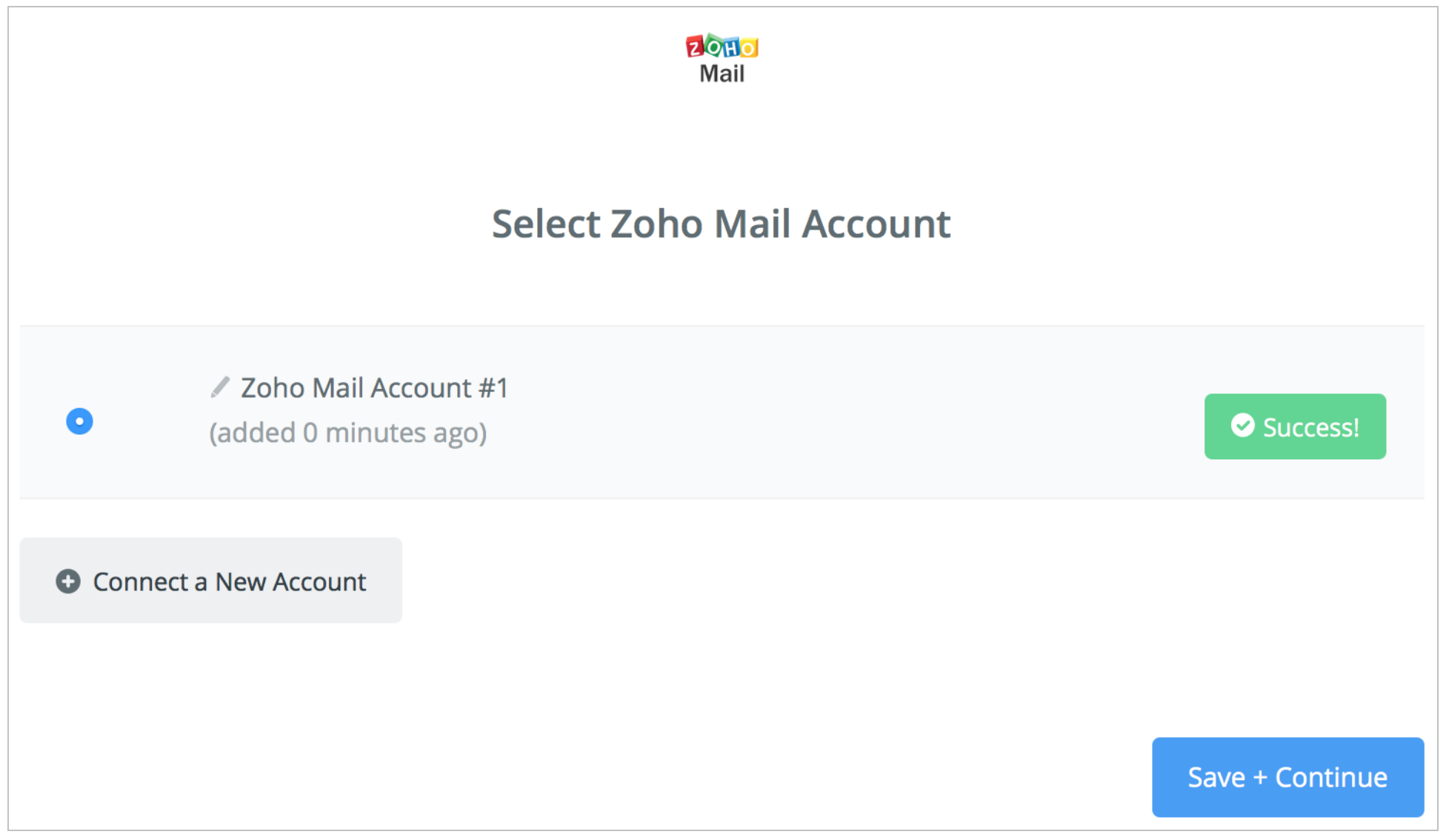 Zoho Mail connection successfull