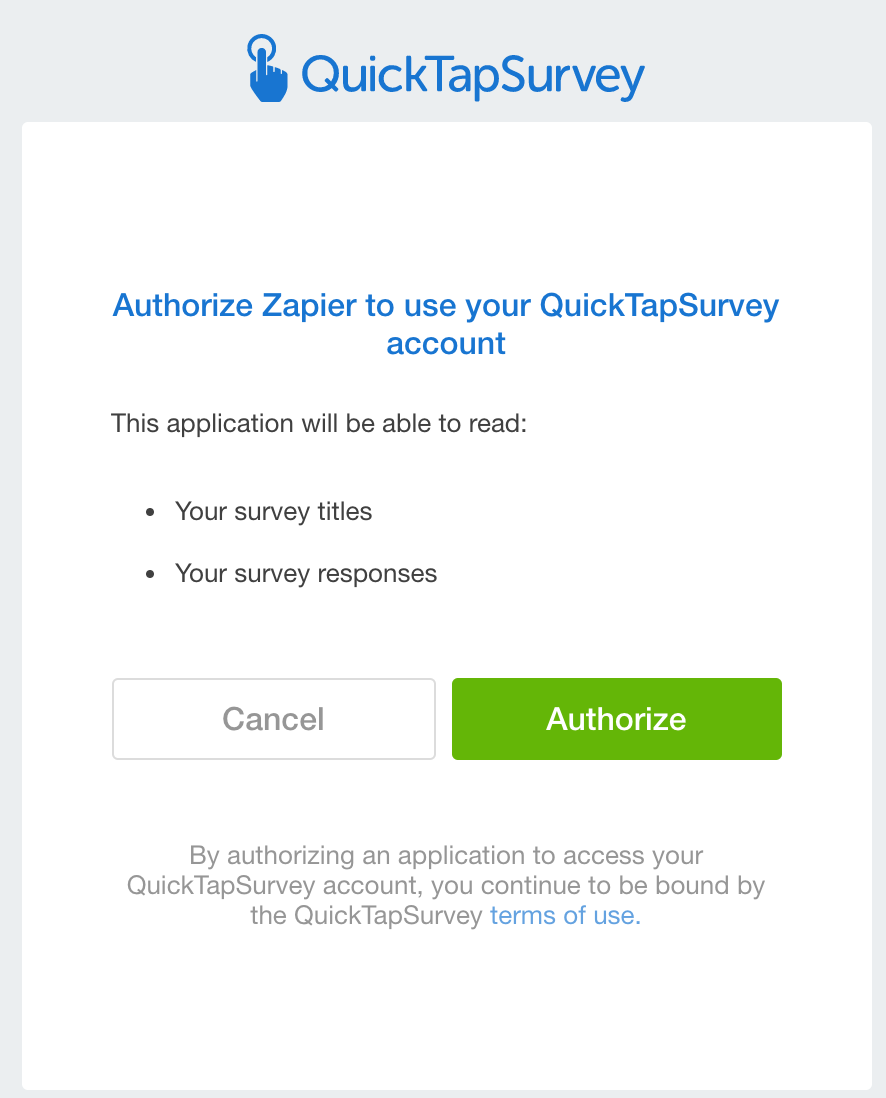 Authorize  QuickTapSurvey on Zapier
