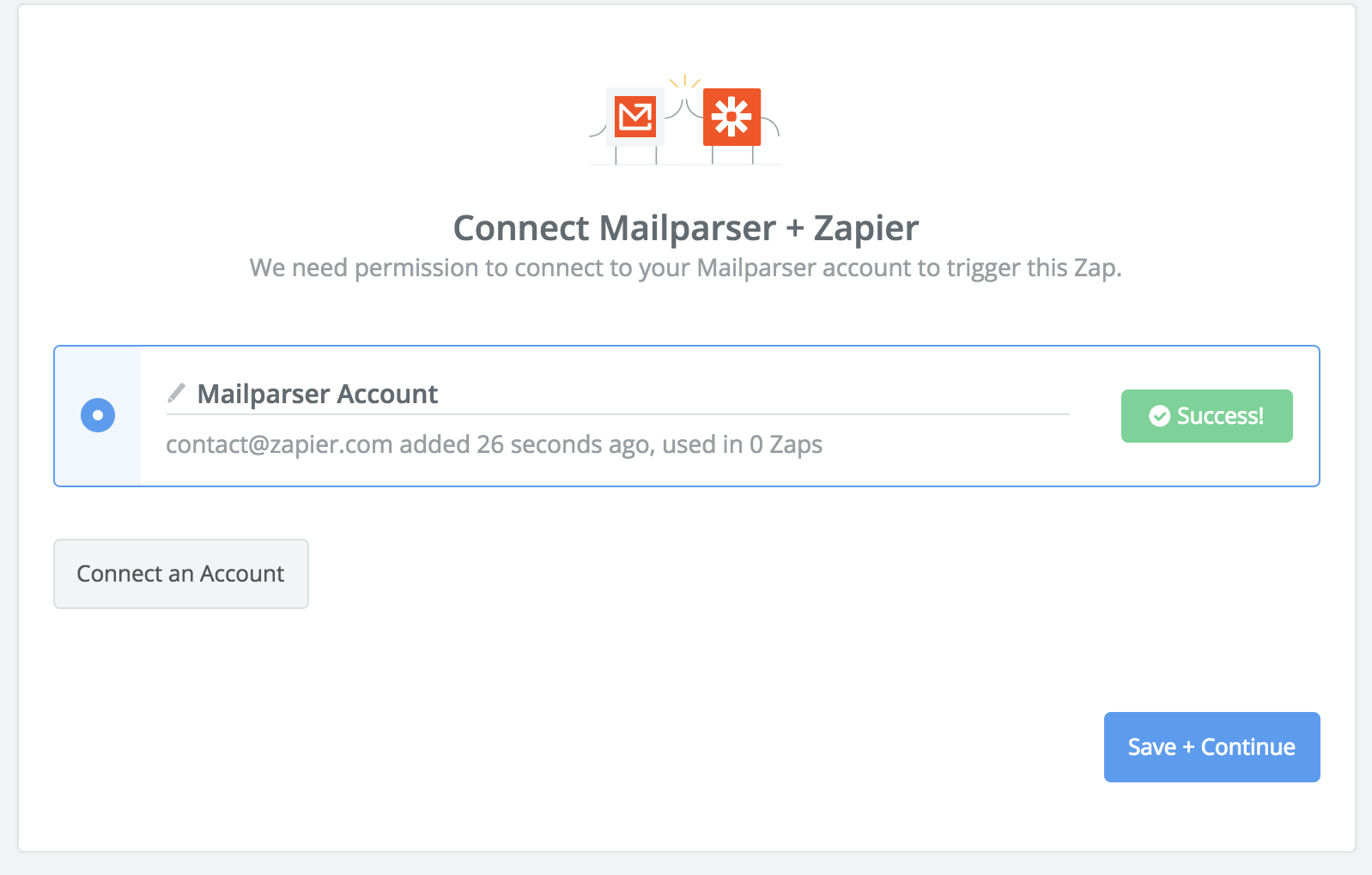 Successful MailParser account connection