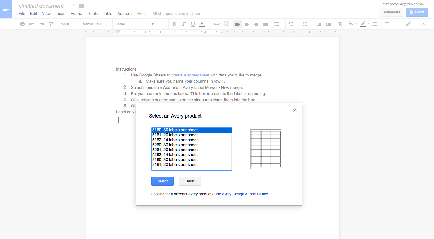 Avery Label Merge in Google Docs