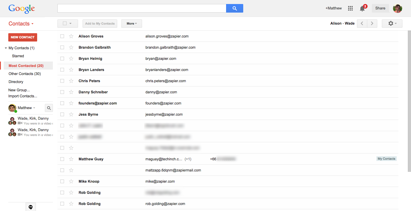 view google contacts