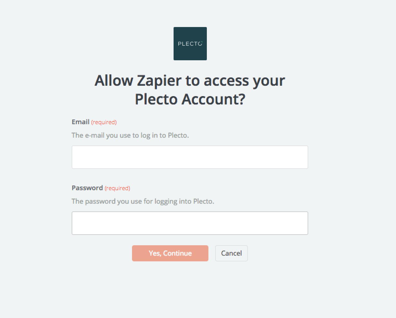 Plecto username and password
