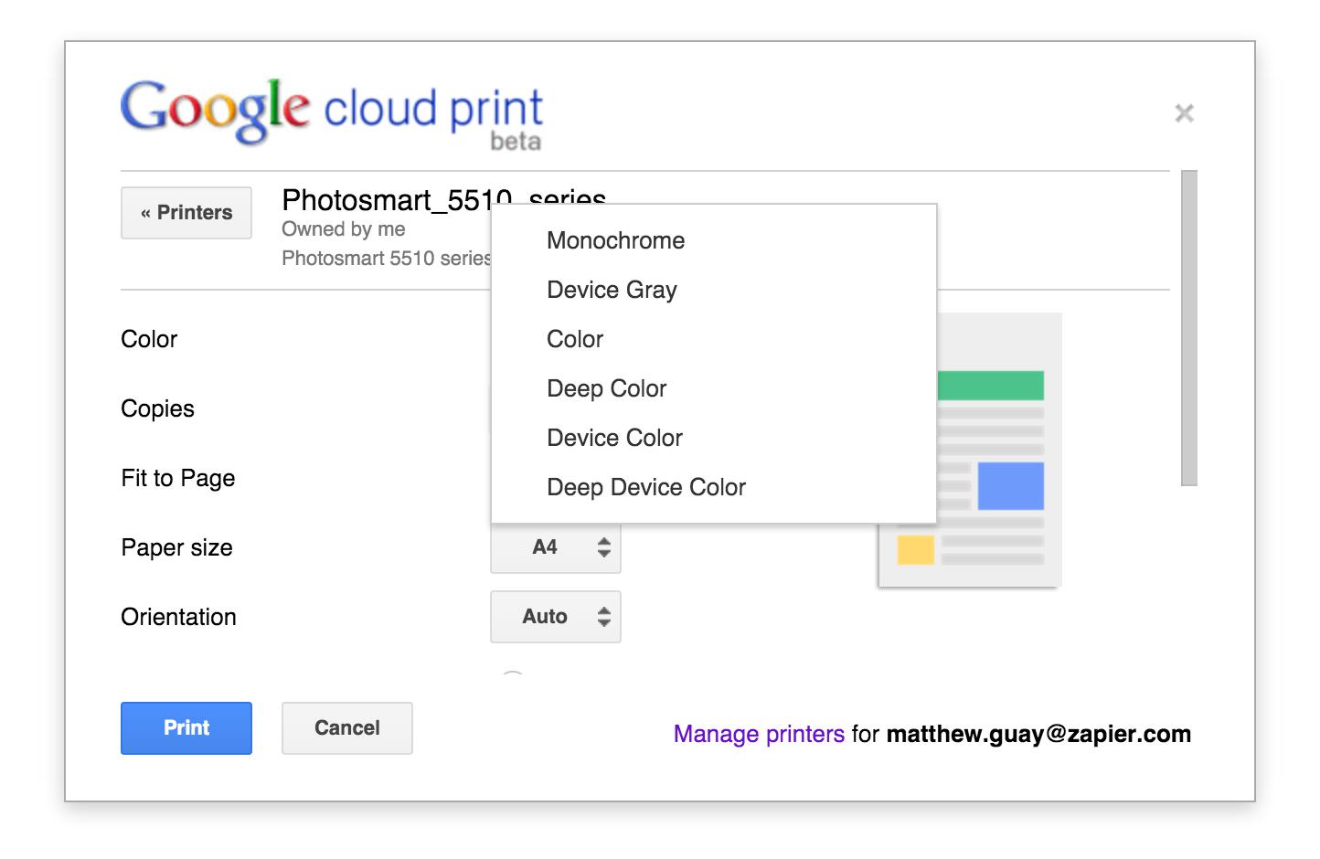 Google Cloud Print Features