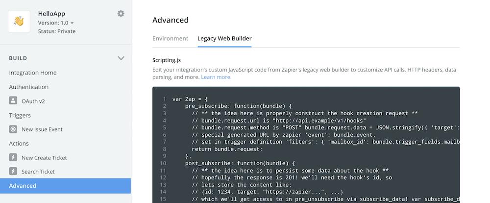 Platform UI code editor
