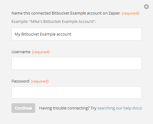 Screenshot of authentication fields from Zap Editor
