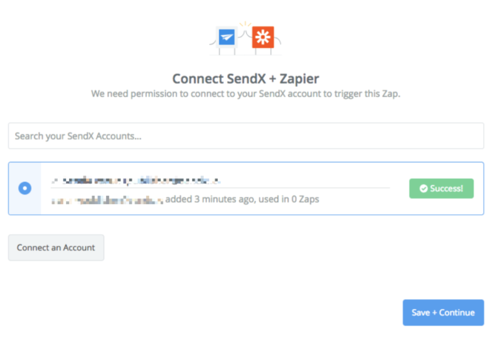 SendX connection successful