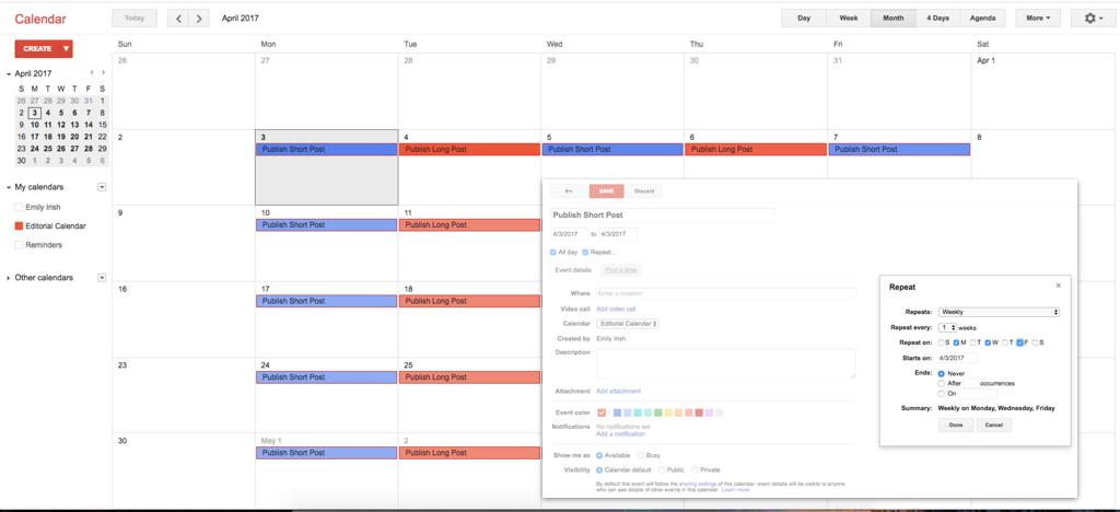 Basic Editorial Calendar