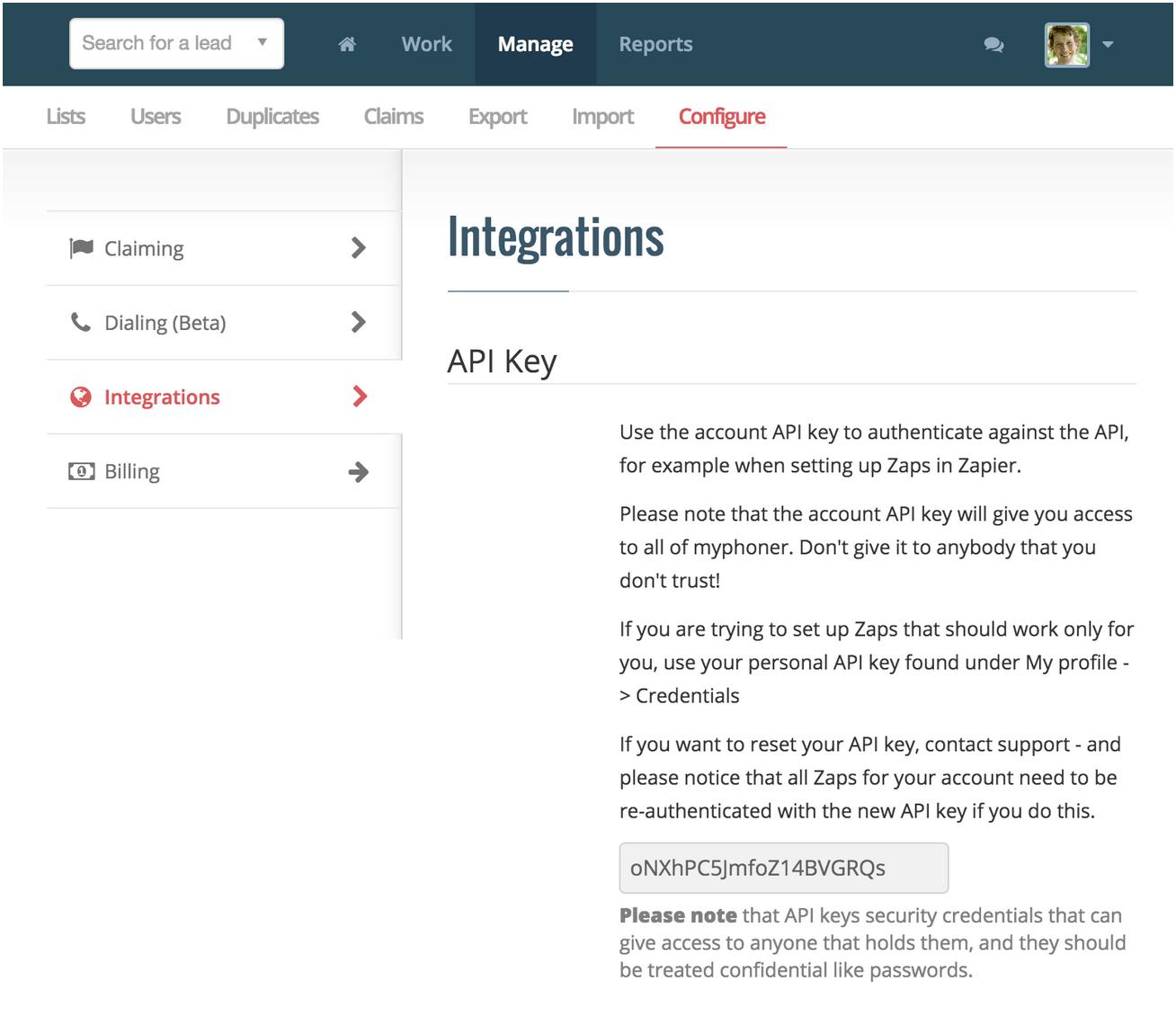 Myphoner account-wide API Key in Myphoner account
