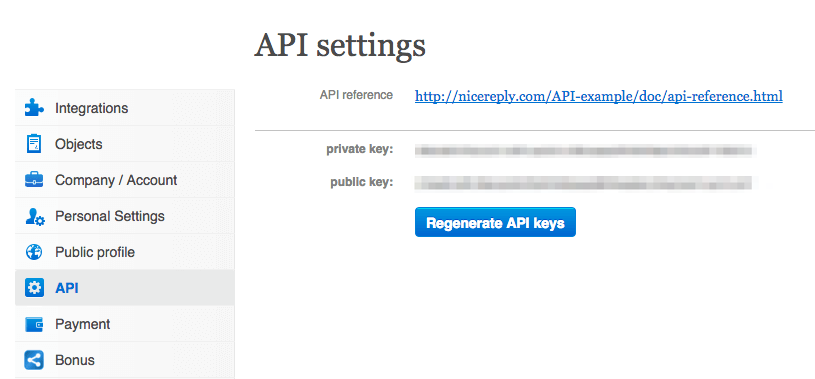 Nicereply Private API Key