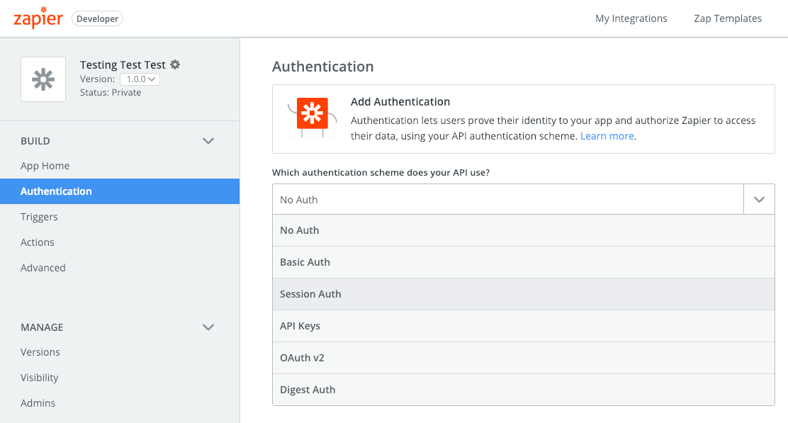 Add Session Auth to Zapier integration