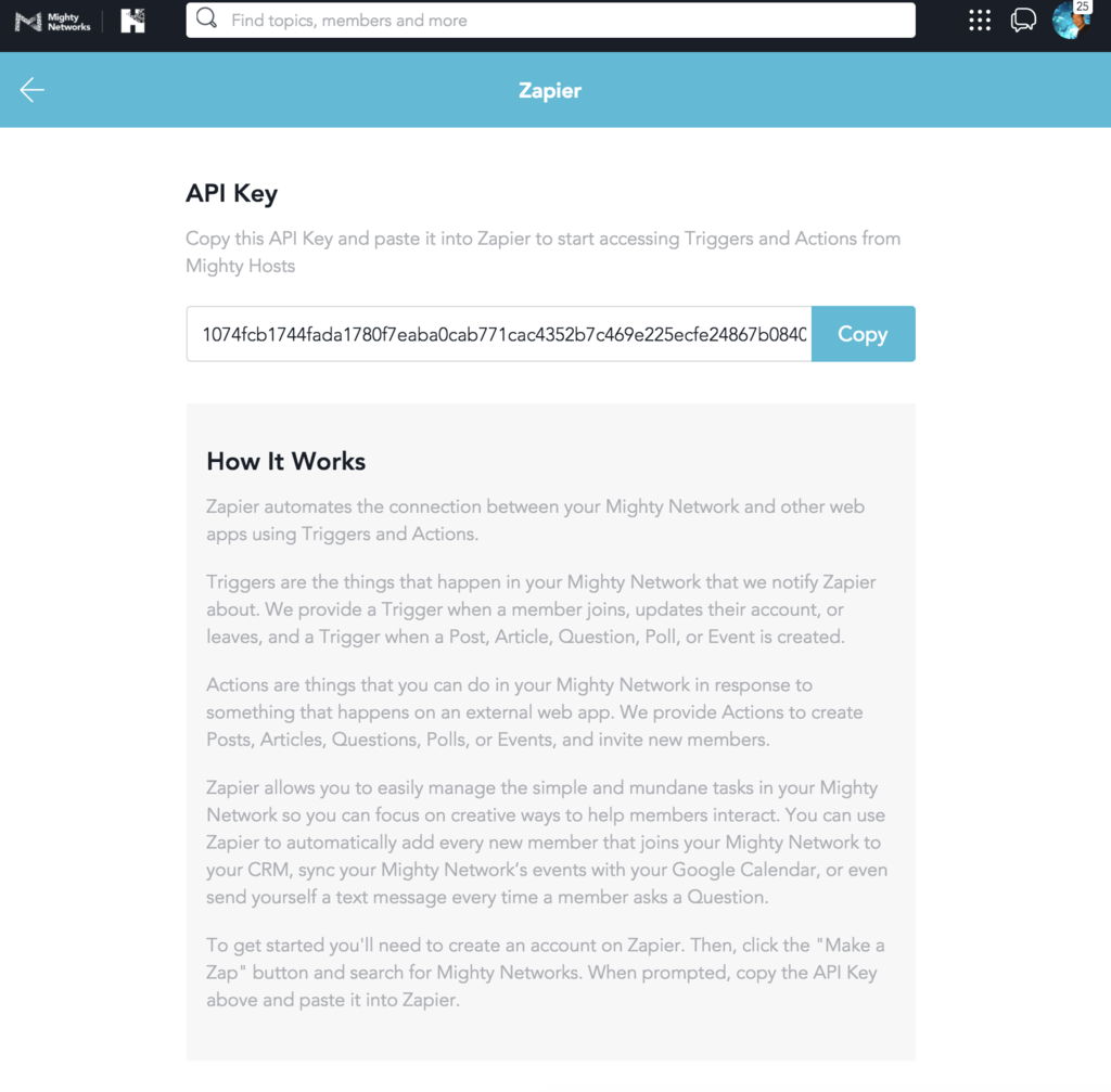 Mighty Networks API Key in account