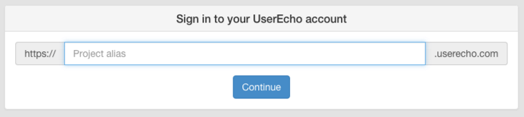 Enter your UserEcho project alias