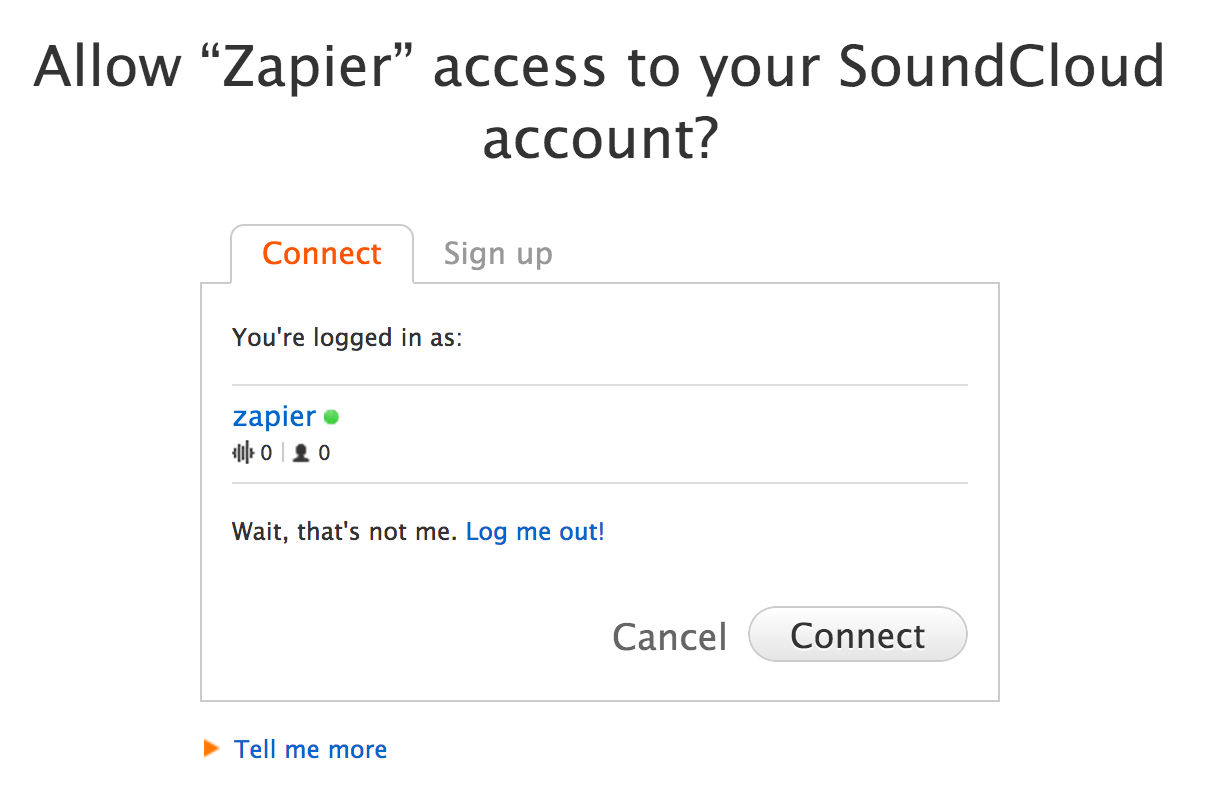 Give Zapier permission to connect to SoundCloud