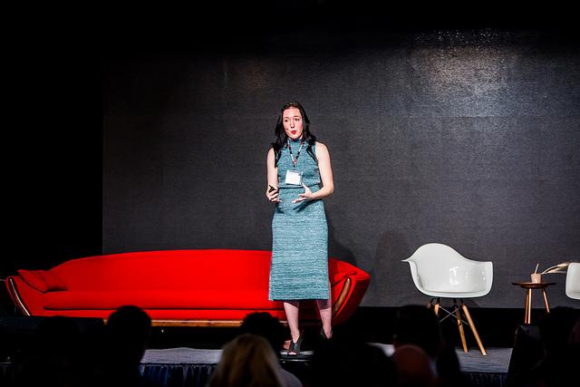 Speaker on stage - courtesy of Silicon Prairie News