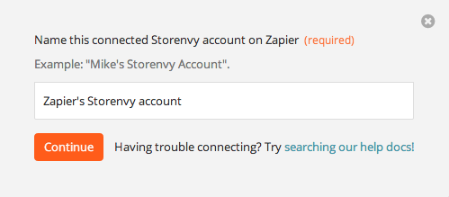 Name the Storenvy account inside Zapier