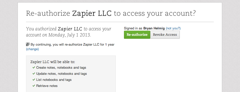 Authorize your Evernote Business account