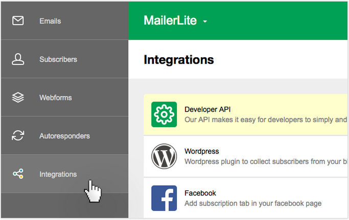 Integrations section in MailerLite