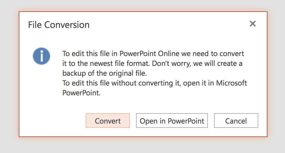 convert file to pptx in PowerPoint Online