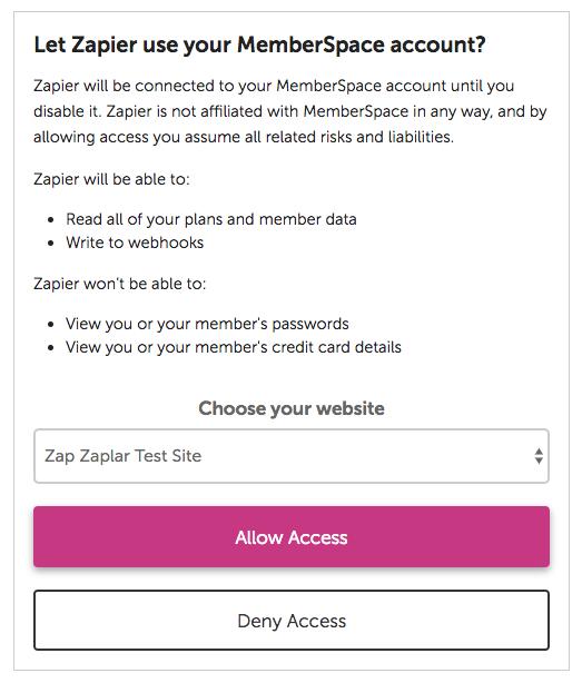 Authorize  MemberSpace on Zapier