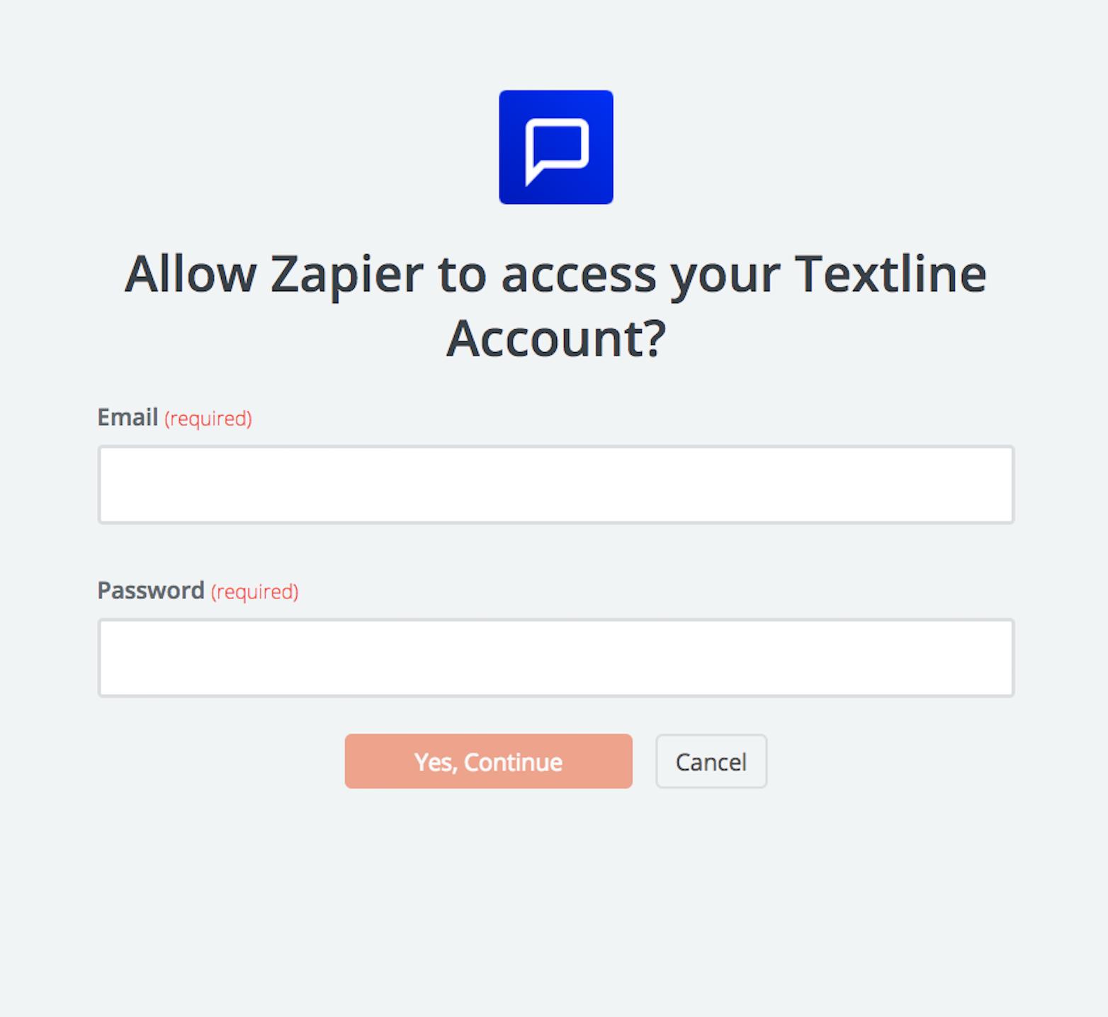Textline username and password