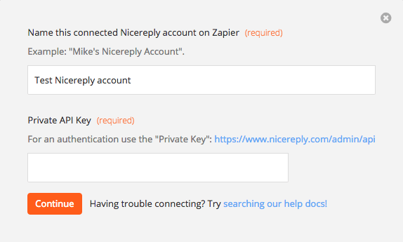 Insert Nicereply Private API Key