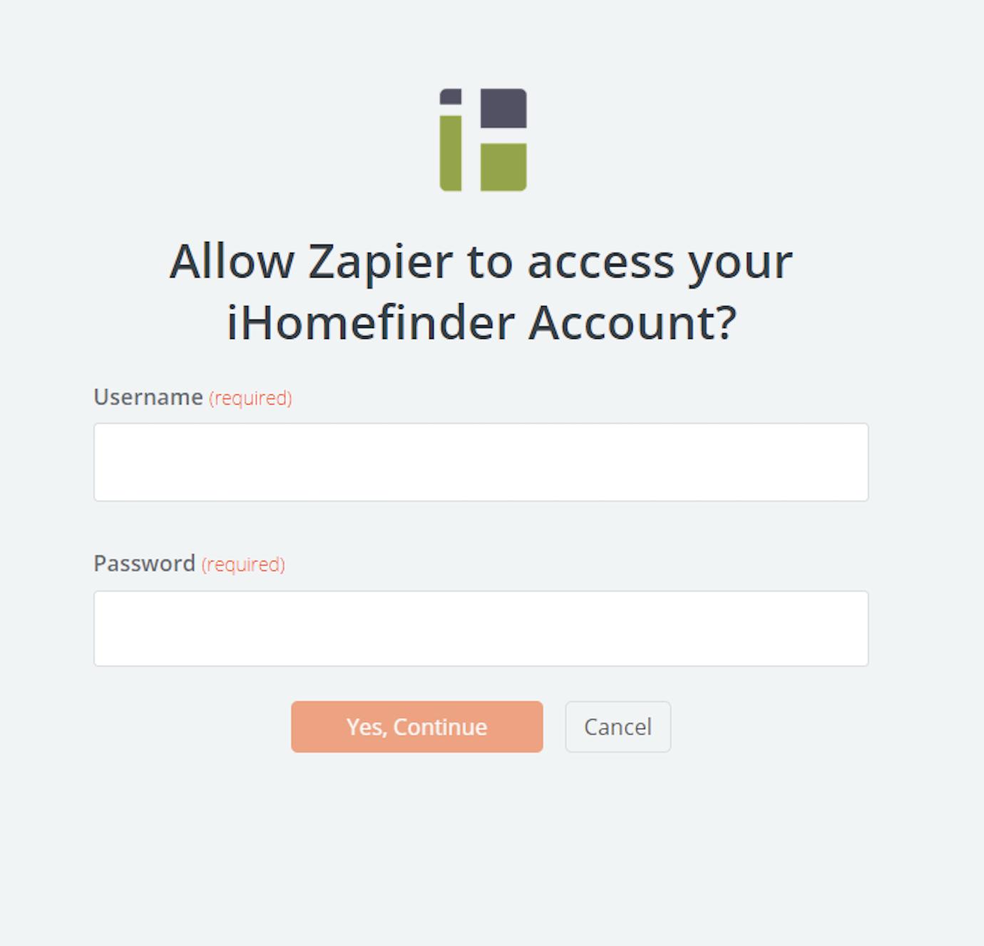 iHomefinder username and password