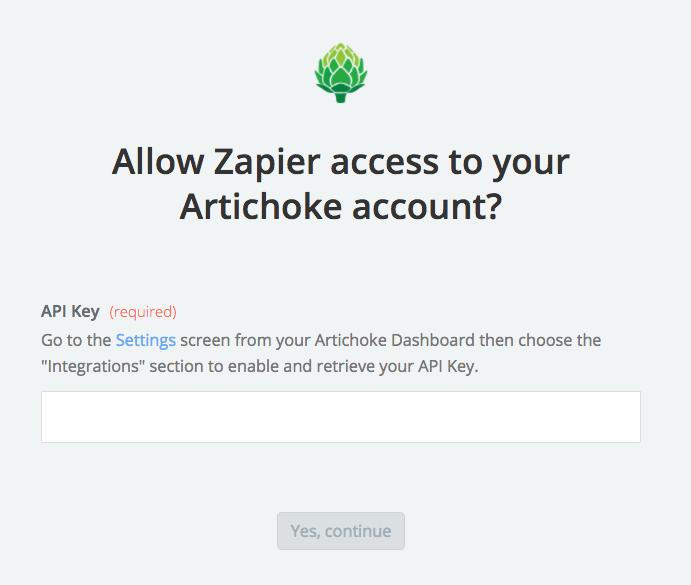 Artichoke API Key