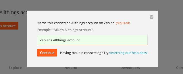 Name the Allthings account inside Zapier