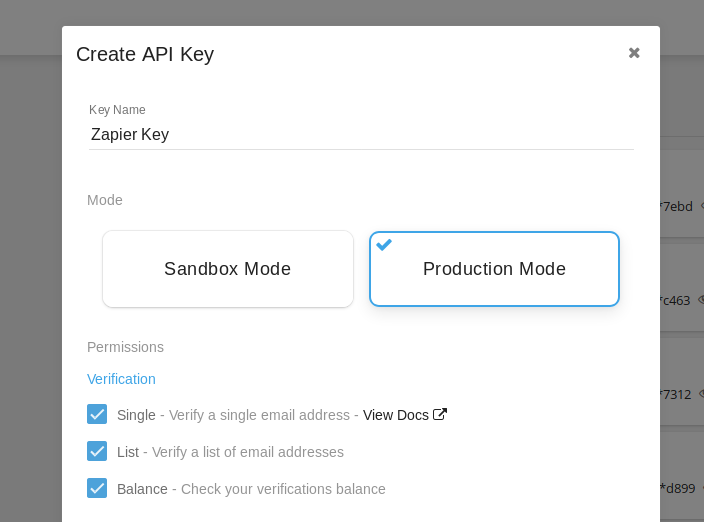 Kickbox API Key in account