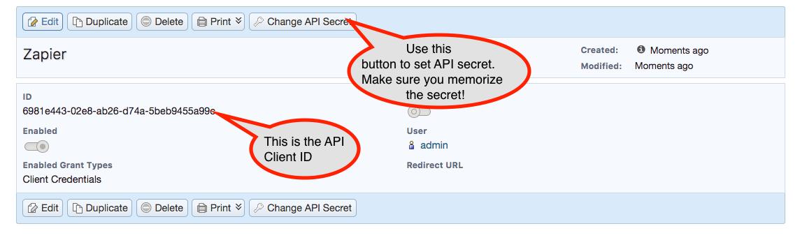 1CRM API Key in account