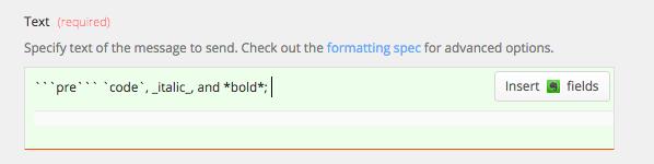 Slack formatting in Zapier