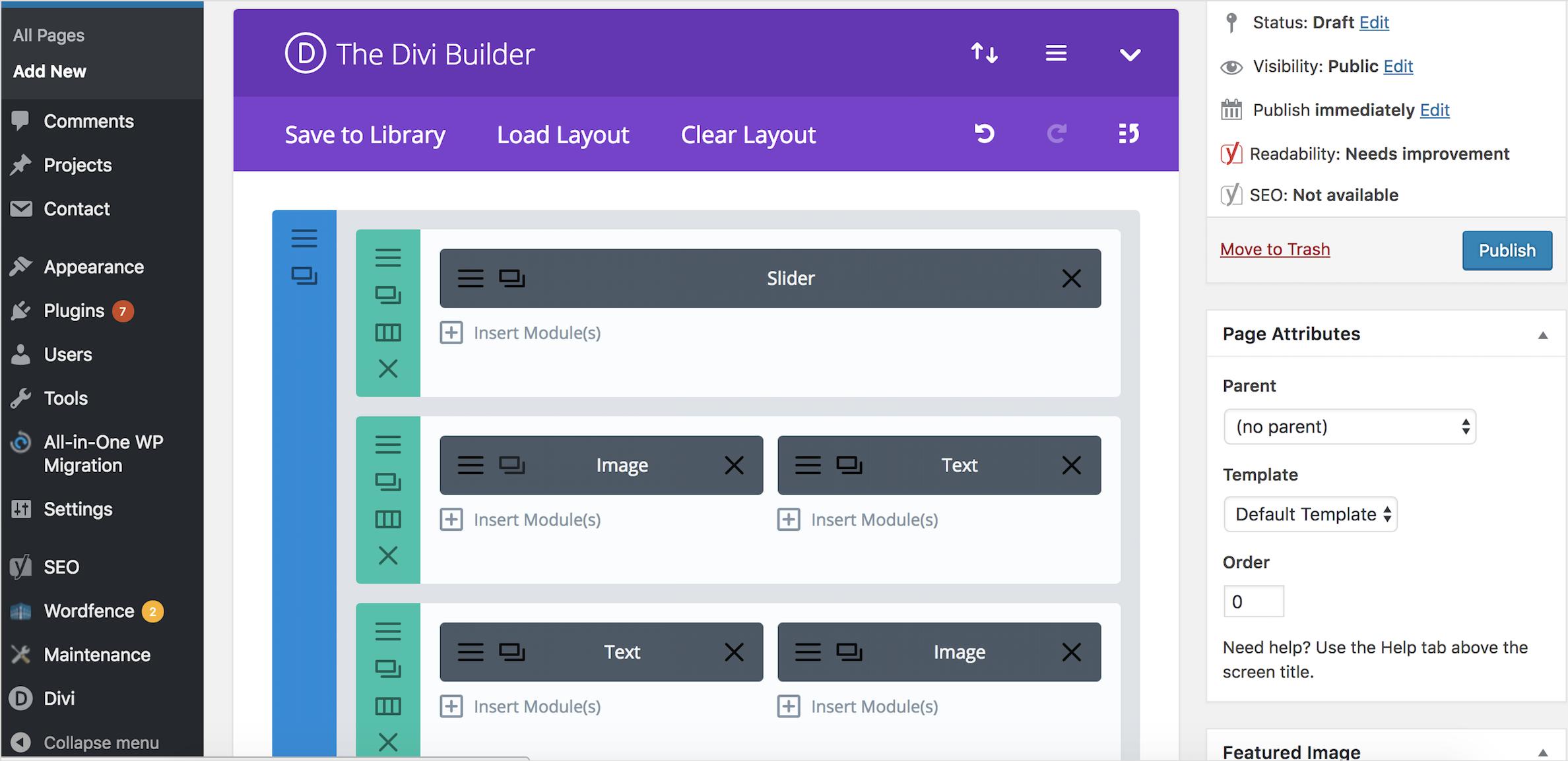 Divi modular site builder screenshot