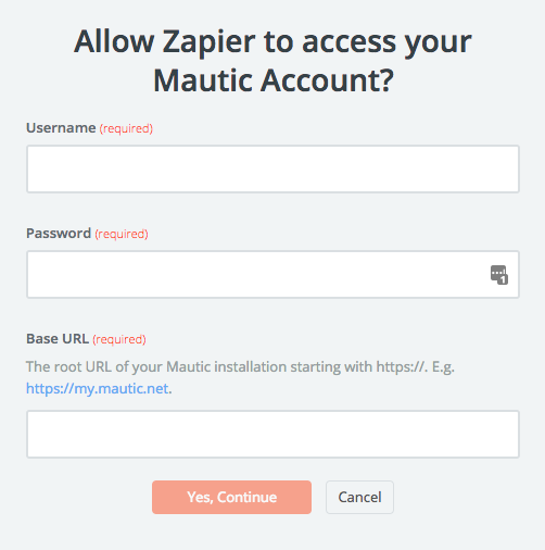Mautic username and password