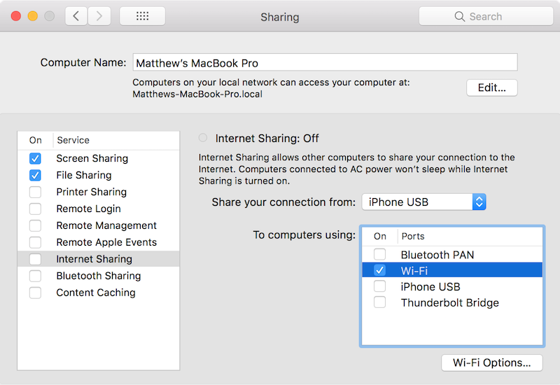 macOS Internet Sharing
